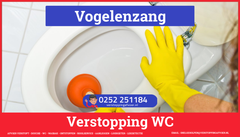 Verstopping wc ontstoppen in Vogelenzang