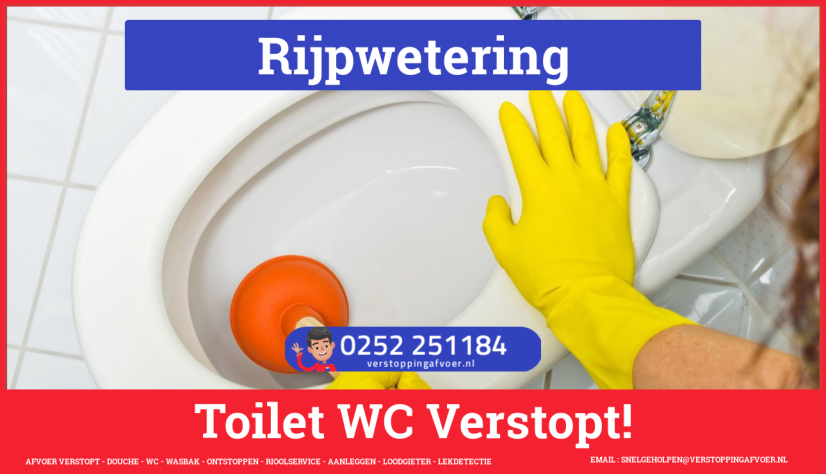 Verstopping wc ontstoppen in Rijpwetering