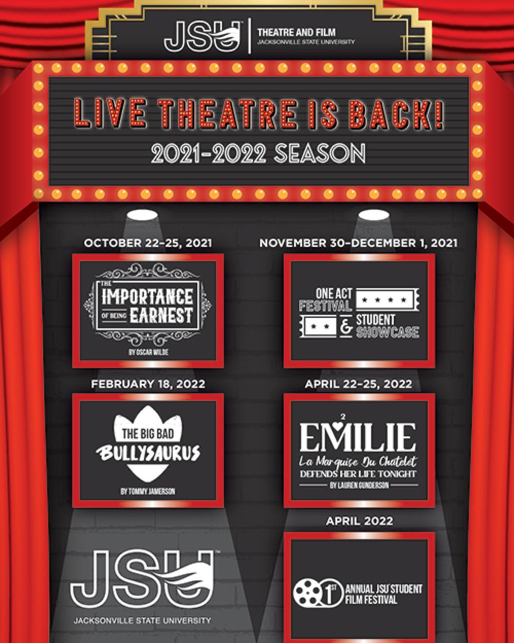 Season poster for JSU Theatre and film Season