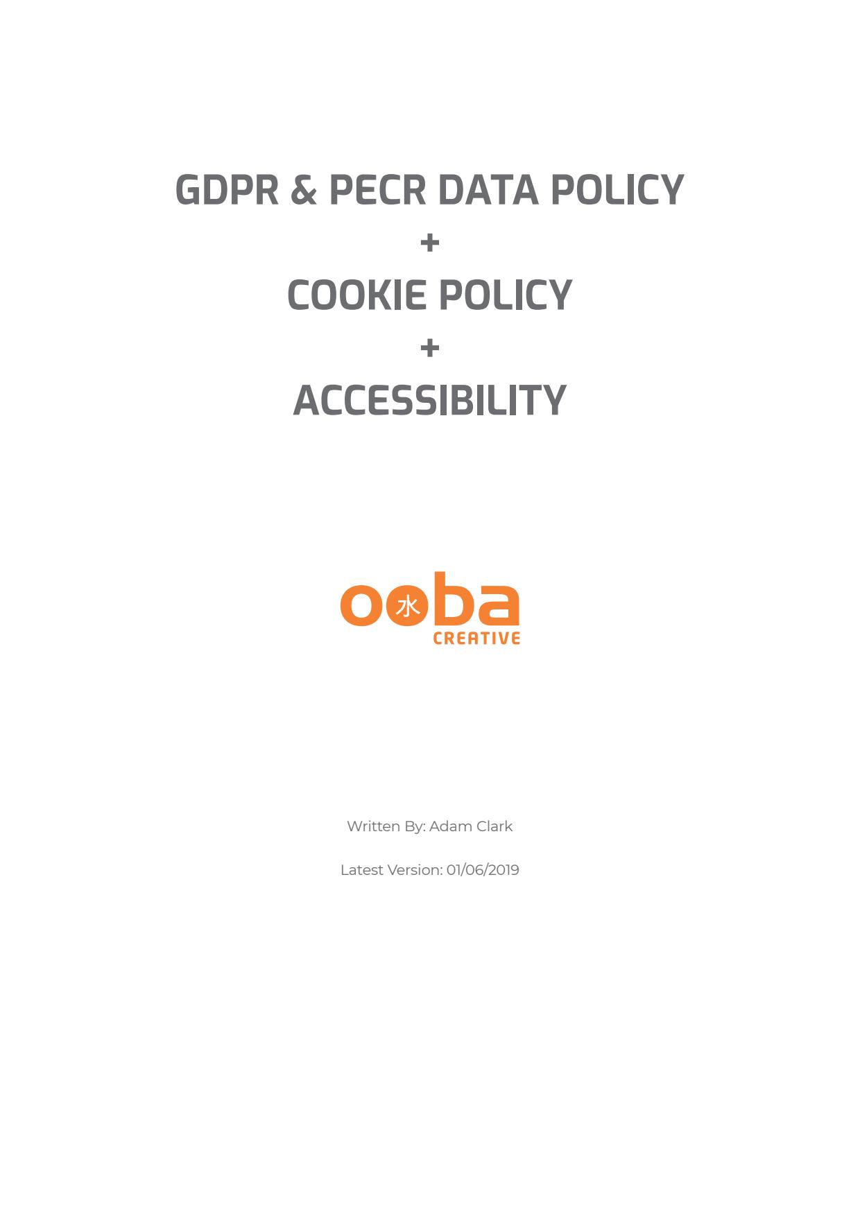 GDPR, Data & Cookies