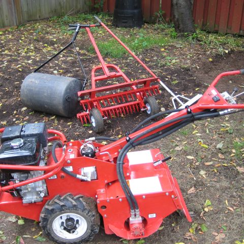 New Homeowner Has Family Work Party to Install a New Lawn 1458065919593_tiller landscape rake grader rake and lawn roller.JPG