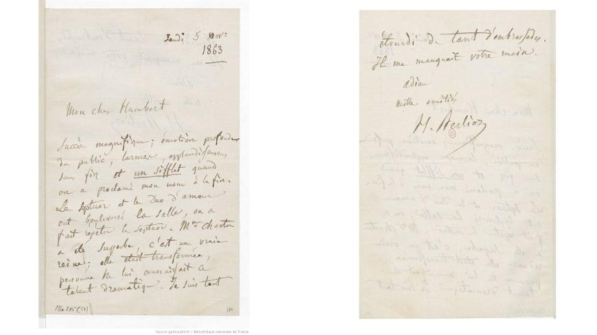 Lettre d'Hector Berlioz à Humbert Ferrand, 5 novembre 1863. Manuscrit autographe