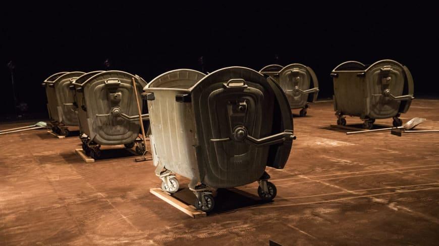 Industrial waste bins on stage