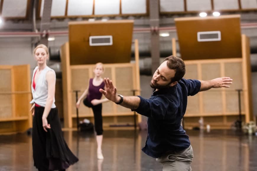 Benjamin Millepied lors d'une répétition de Daphnis et Chloé, 2014