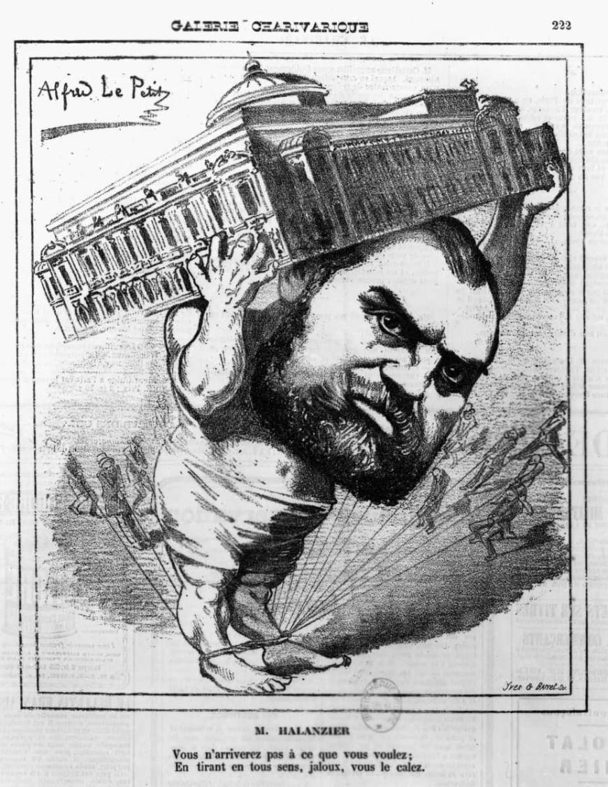 Caricature d'Olivier Halanzier par Alfred le Petit, parue dans le journal