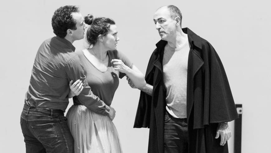 Cyrille Dubois (Rubempré), Julie Fuchs (Esther) and Laurent Naouri (Carlos Herrera)