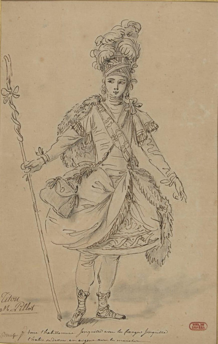 François Boucher, Titon dans Titon et l'Aurore, 1763, dessin, BnF, Musique, Bibliothèque-musée de l'Opéra