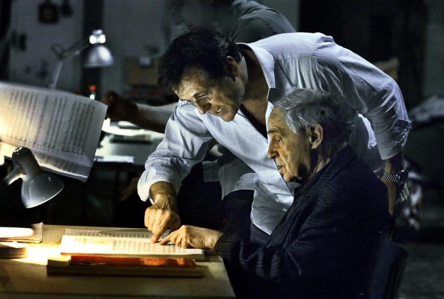 Patrice Chéreau et Pierre Boulez en répétition pour De la maison des morts de Leoš Janáček  au Theater an der Wien, 2007