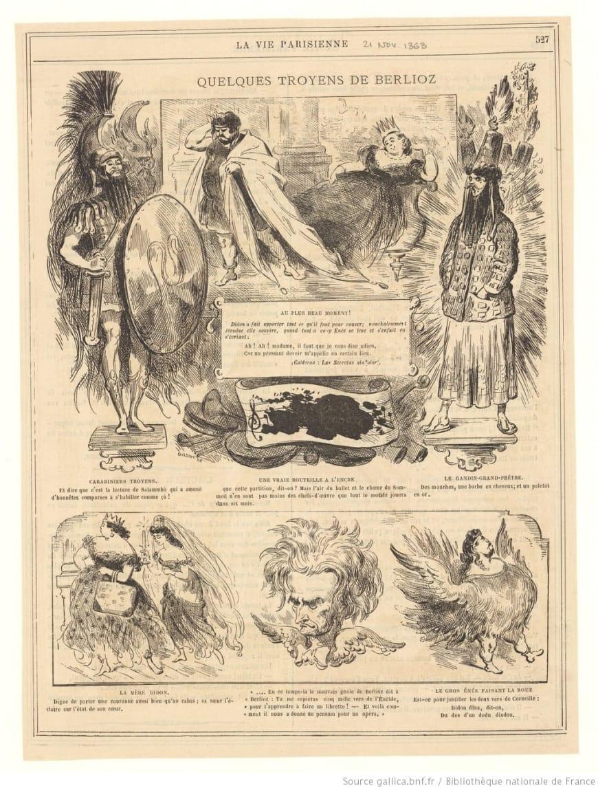 La vie parisienne : dessin humoristique de Firmin Gillot lors de la création des Troyens à Carthage au Théâtre Lyrique, 1863