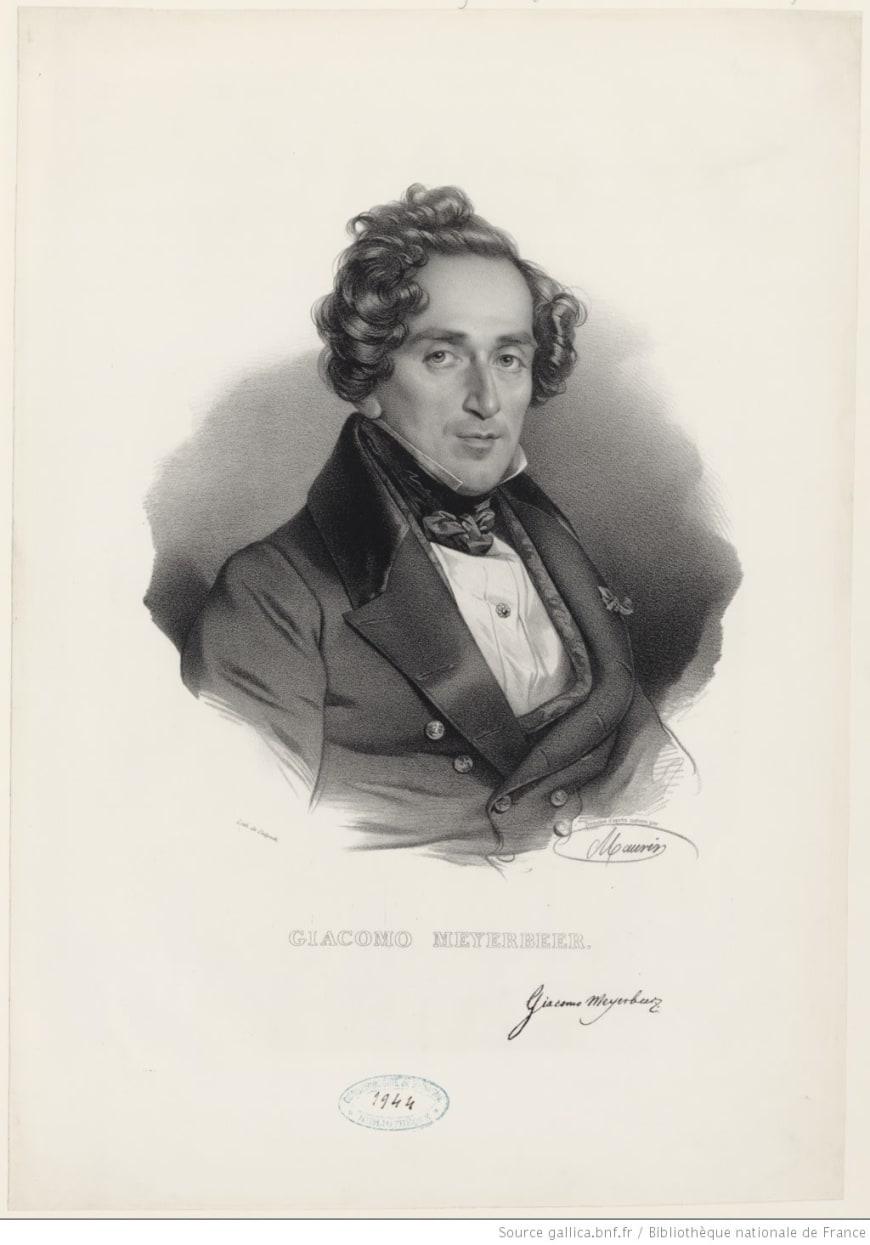 Portrait de Giacomo Meyerbeer, dessiné d'après nature par Nicolas E. Maurin, 1840