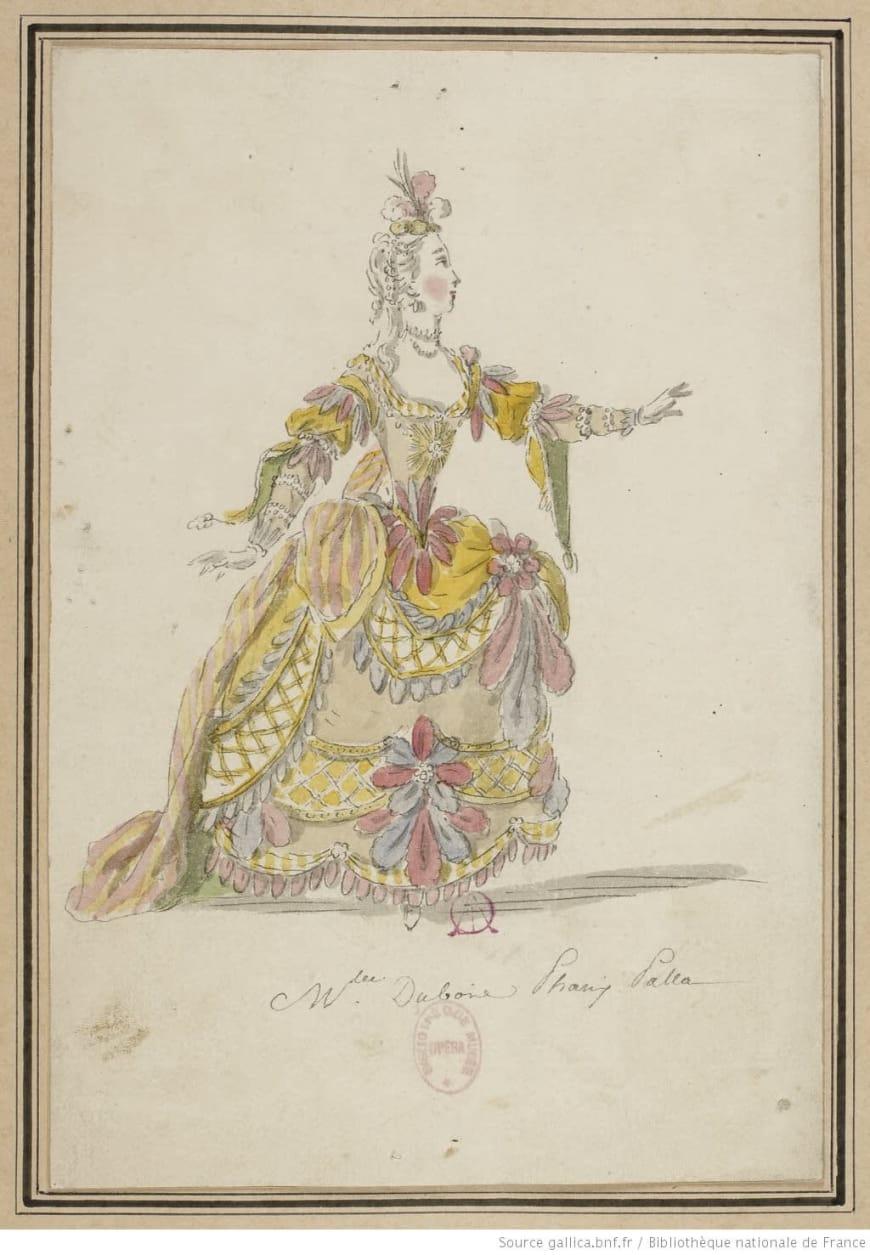 Maquette de costume des Indes galantes par Louis-René Boquet. Académie royale de musique, 1761