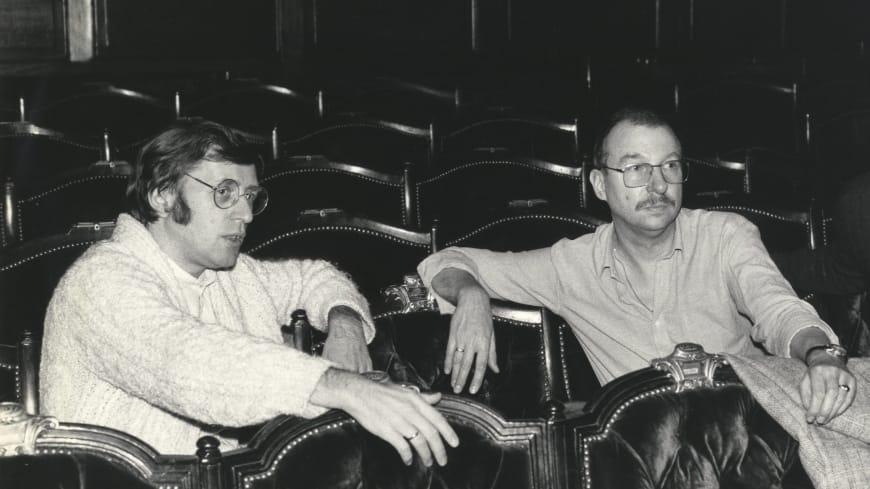 Friedemann Layer (chef d'orchestre) et Aribert Reimann lors de la création de « Lear » au Palais Garnier