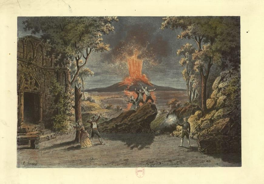 D'après E. Grand. La scène finale de La Muette de Portici, s.d. Estampe en couleurs, 28,6 x 40,2 cm. BnF, département de la Musique, Bibliothèque-musée de l'Opéra.