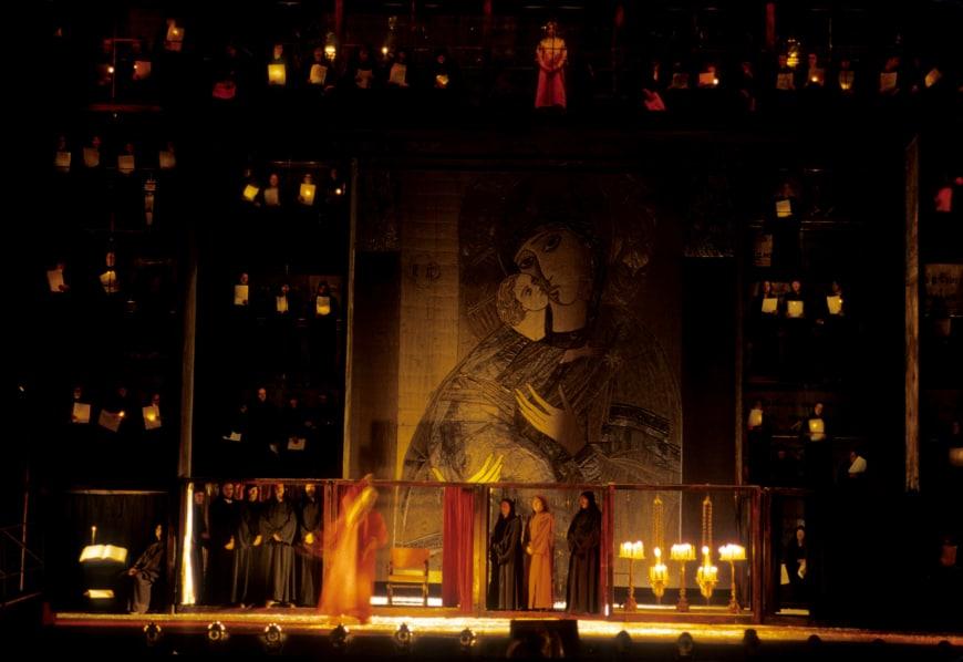 Boris Godounov dans la mise en scène de Iouri Lioubimov, Scala de Milan, 1979
