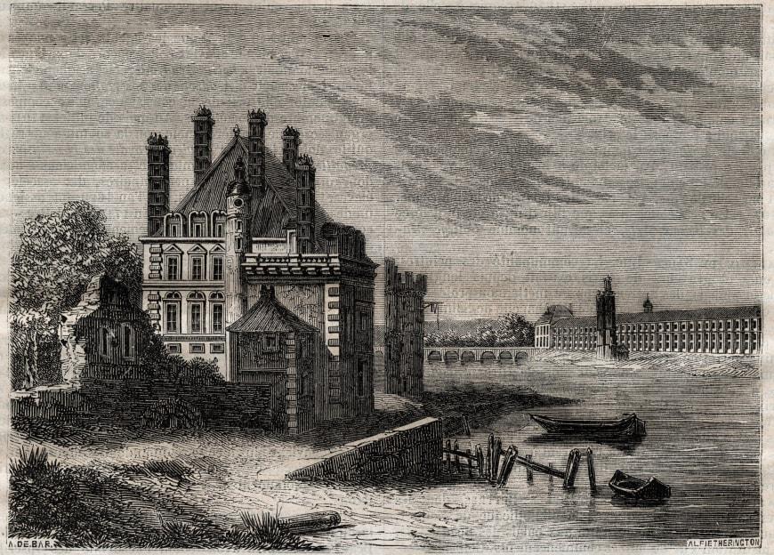 L'hôtel de Nevers, la Tour de Nesle et le Louvre vus du Pont-Neuf, 1853