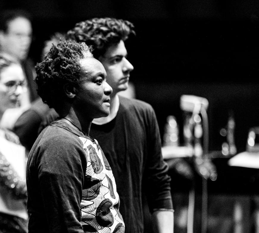 Bintou Dembélé et Clément Cogitore en répétition, Opéra Bastille, 2019