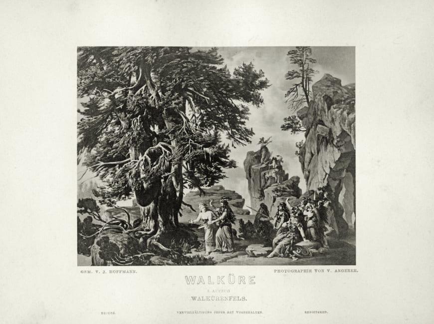 La Walkyrie, maquette de décor de Josef Hoffmann pour la première du cycle de L'Anneau du Nibelung, Bayreuth, 1876.