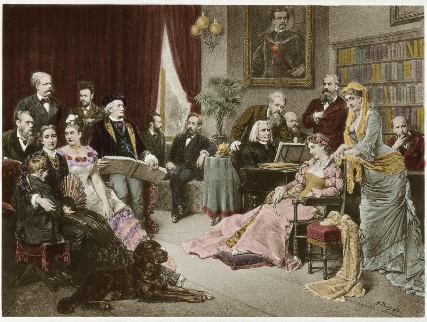 Richard Wagner et Franz Liszt à Bayreuth avec Cosima et Siegfried, d'après Fritz Georg Papperitz