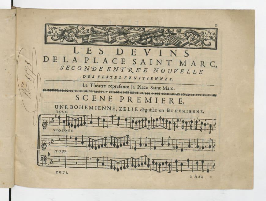 André Campra, Les Devins de la place Saint-Marc, seconde entrée ajoutée aux Fêtes vénitiennes, 1710, partition imprimée, BnF, Musique