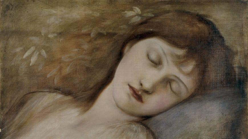 La princesse endormie,  Edward Burne-Jones. Étude pour « La Belle au bois dormant »