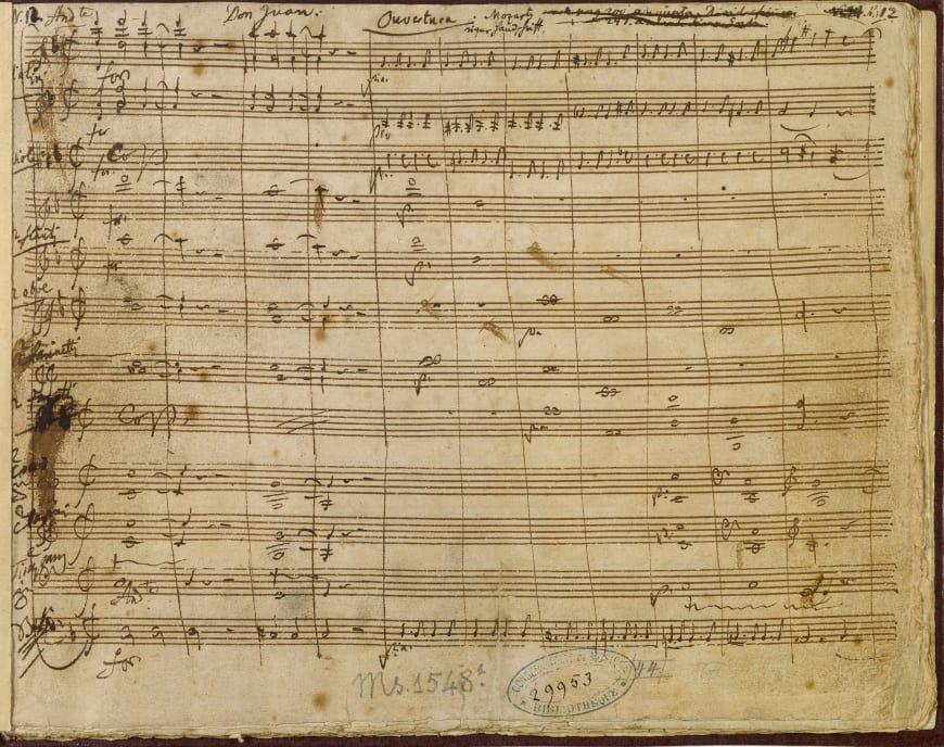 W.A. Mozart, « Il dissoluto punito ossia il Don Giovanni » (Ouverture). Partition manuscrite, 1787. BnF, département de la Musique, Bibliothèque-musée de l'Opéra