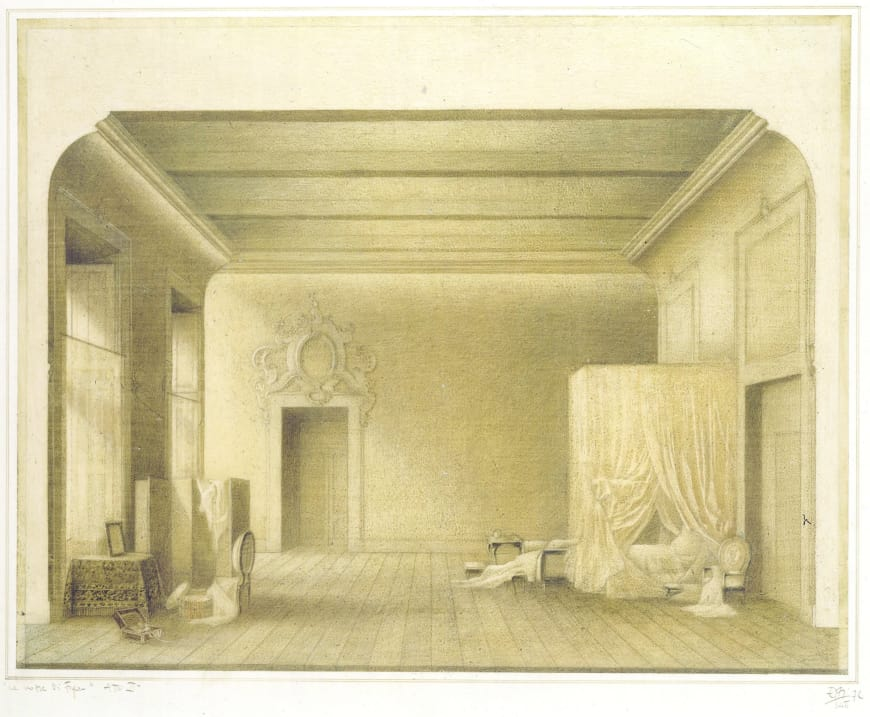 Ezio Frigerio, La Chambre de la comtesse, esquisse de décor pour