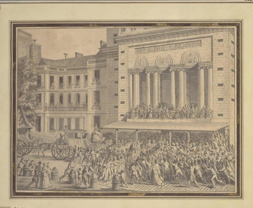 Jean-Louis Prieur, Le Peuple faisant fermer l'Opéra le 12 juillet 1789, entre 1789 et 1795, dessin, BnF, Musique, Bibliothèque-musée de l'Opéra