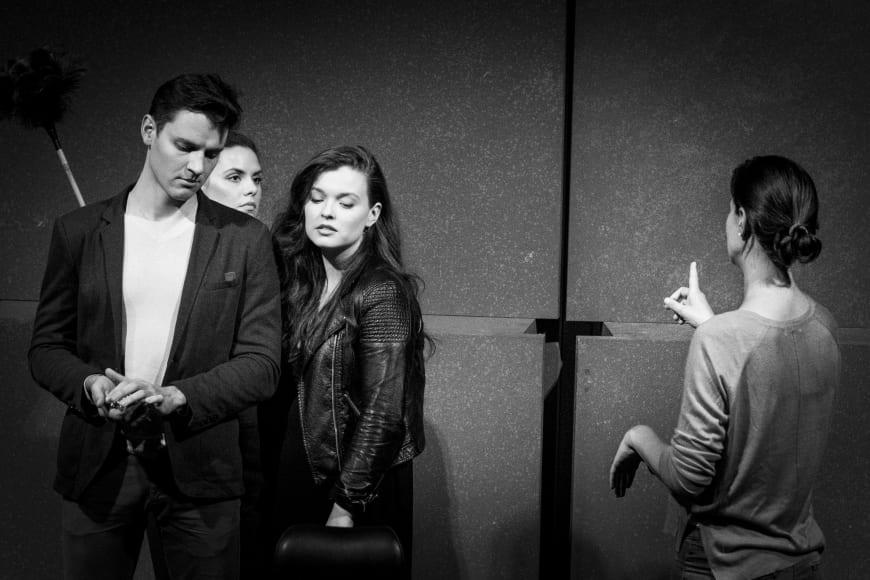 Danylo Matviienko, Jeanne Ireland et Sarah Shine en répétition avec Christiane Lutz,  Opéra de Paris, 2017