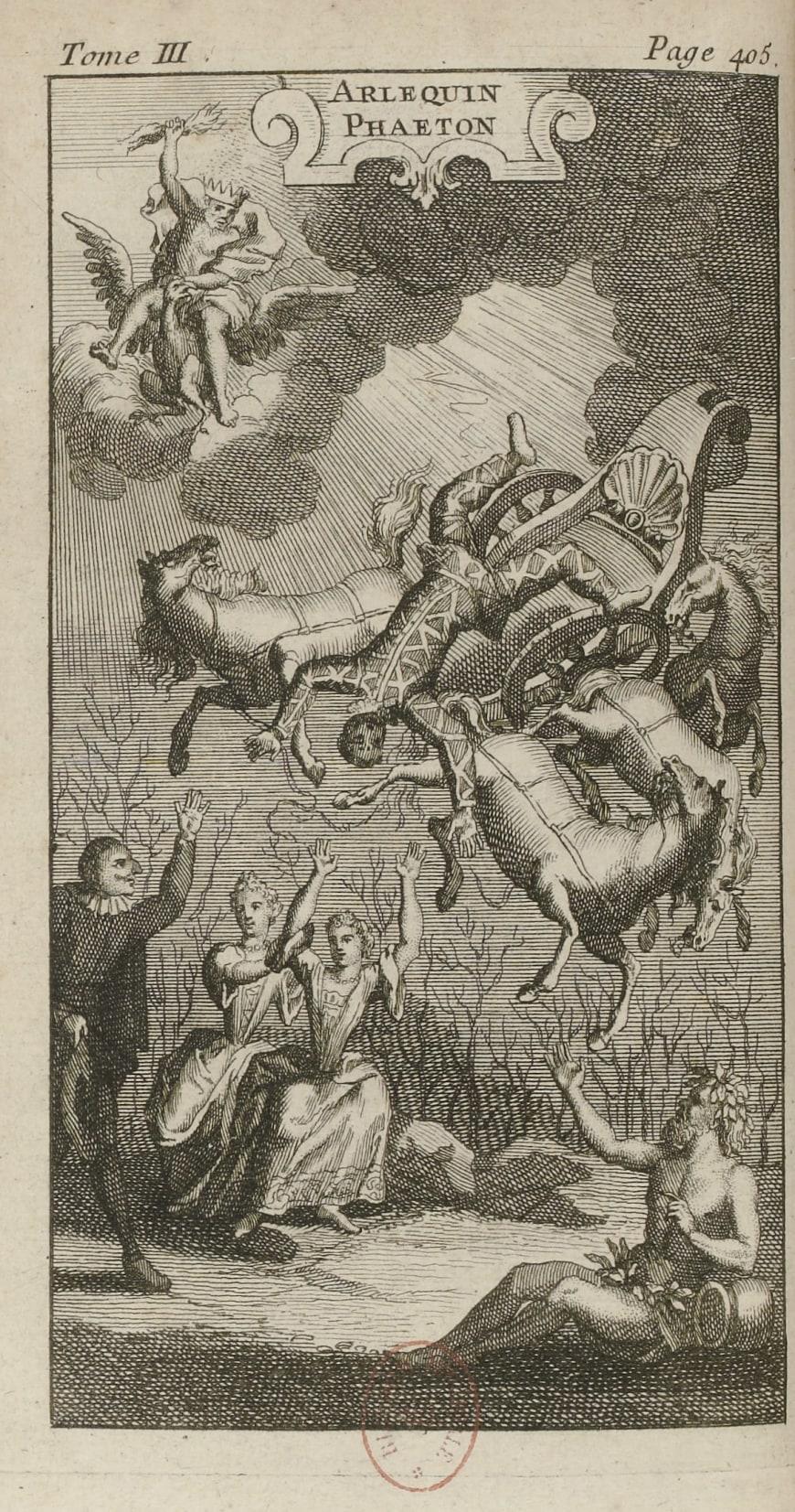 Jean de Palaprat, Arlequin Phaéton (1692), dans Le Théâtre italien de Gherardi, frontispice gravé, 1741