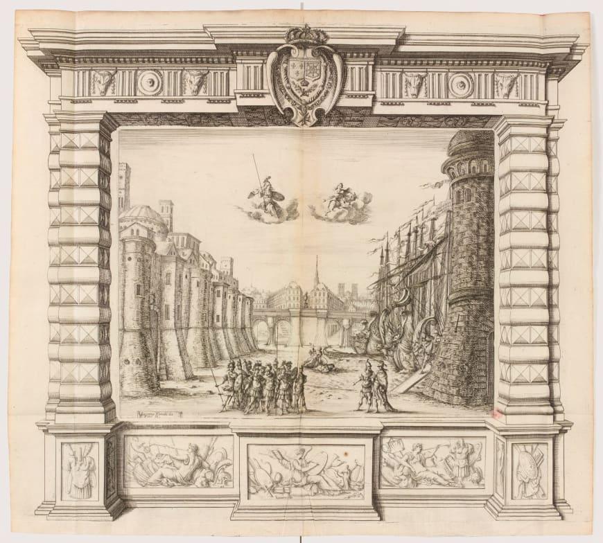 Attribué à Noël Cochin ou à Nicolas Cochin d'après Giacomo Torelli, Décor du prologue de La Finta pazza de Sacrati, 1645, planche gravée, BnF, Musique, Bibliothèque-musée de l'Opéra
