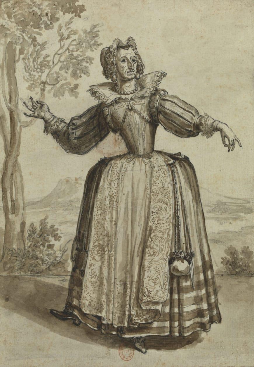 Henri II Bonnart, Dame Ragonde, entre 1698 et 1704, dessin, BnF, Estampes et photographie