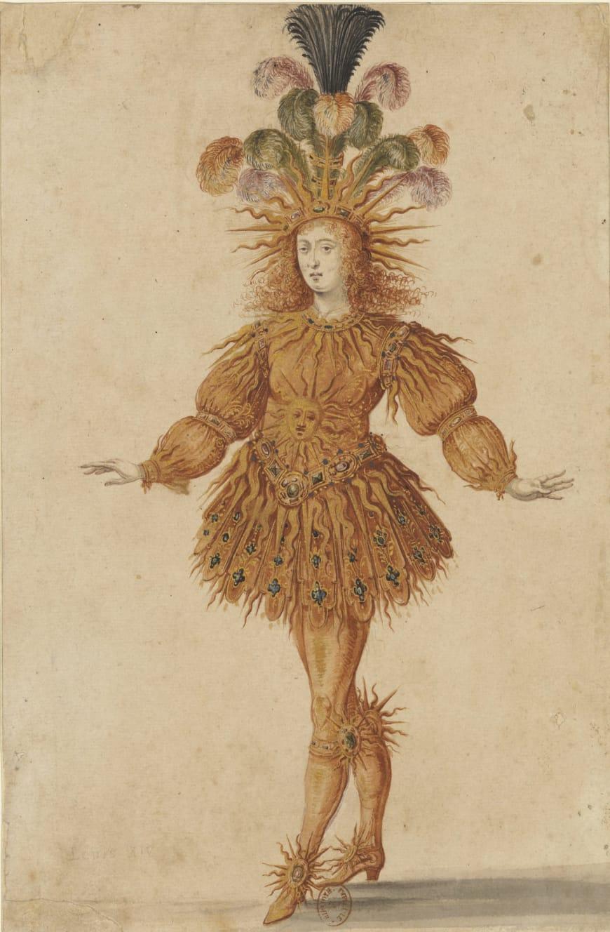 Maître du ballet de la Nuit, Costume pour le Soleil levant dans la dernière entrée du Ballet de la Nuit, 1653, plume, lavis et gouache rehaussée d'or, BnF, Estampes et photographie