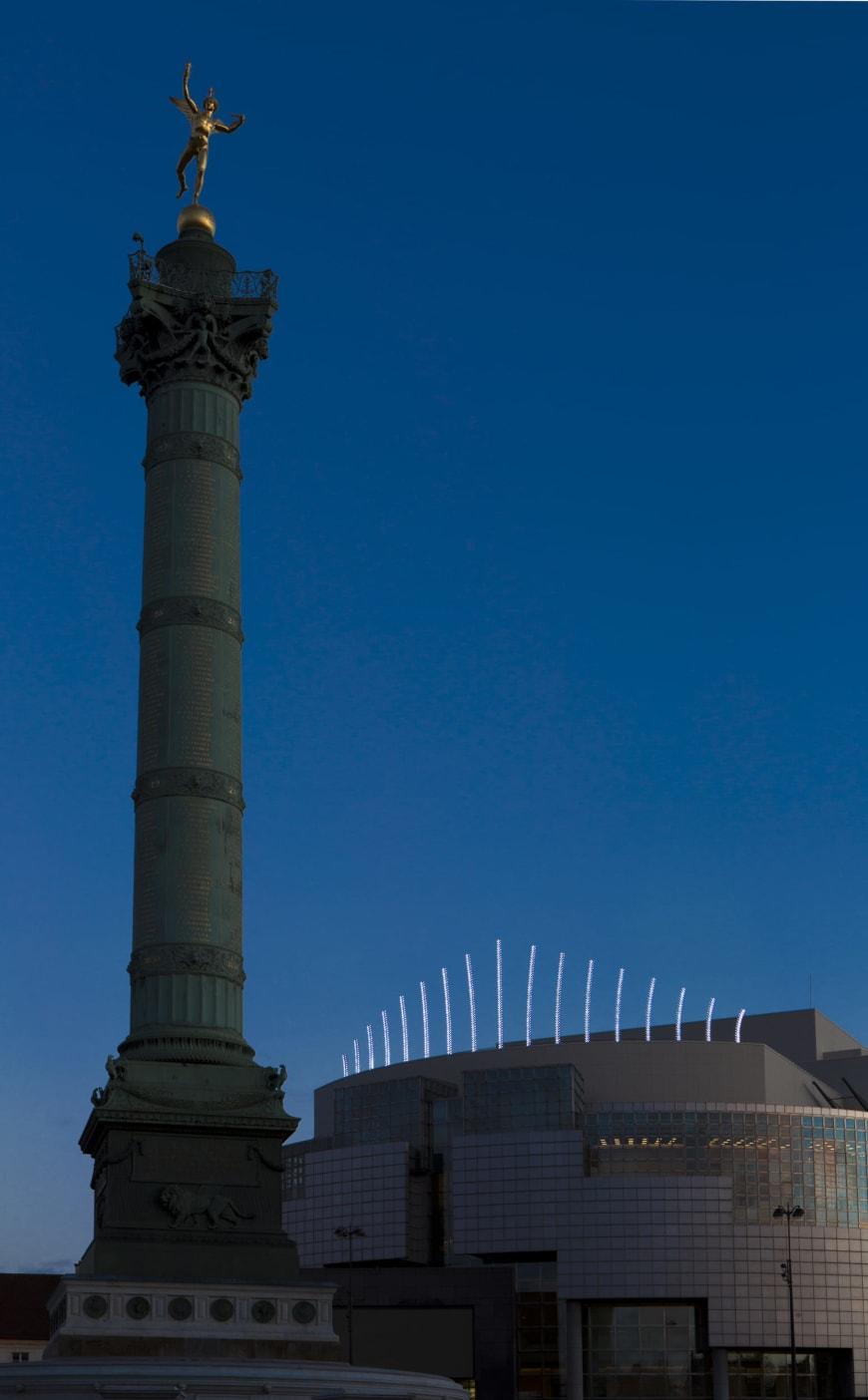 Dispositif in situ, Opéra Bastille, Paris - Inox polimiroir, leds lumière du jour, cabochonsŒuvre créée avec le concours de Benoît Probst-art&oh