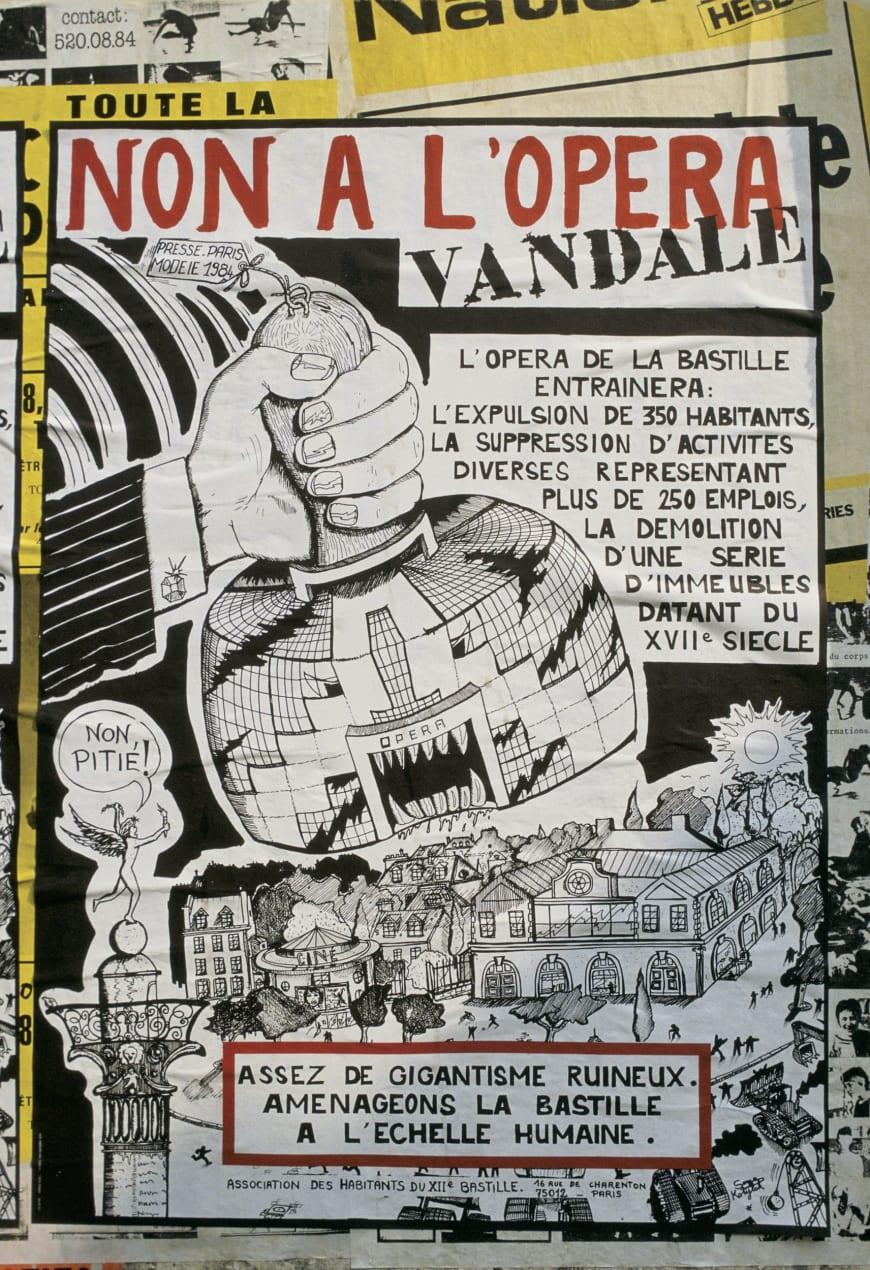 Affiche de protestation des habitants du quartier qui s'élèvent contre la construction de l'Opéra Bastille, 1984