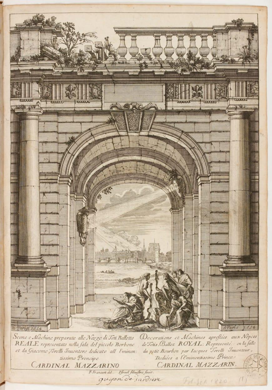 Israël Silvestre d'après François Francart, Décorations et machines pour les Noces de Thétis et Pélée, frontispice gravé, 1654, BnF, Arsenal