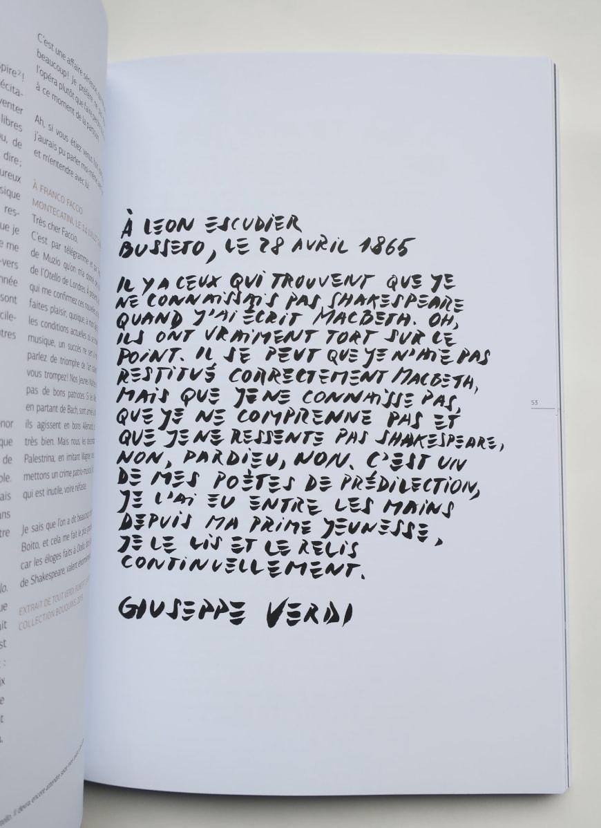 Texte calligraphié (extrait d'une lettre de Verd à Léon Escudieri) dans le programme d'Otello