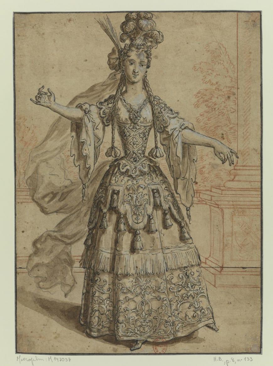 Henri II Bonnart, Marie-Thérèse Perdou de Subligny, entre 1698 et 1704, dessin, BnF, Estampes et photographie