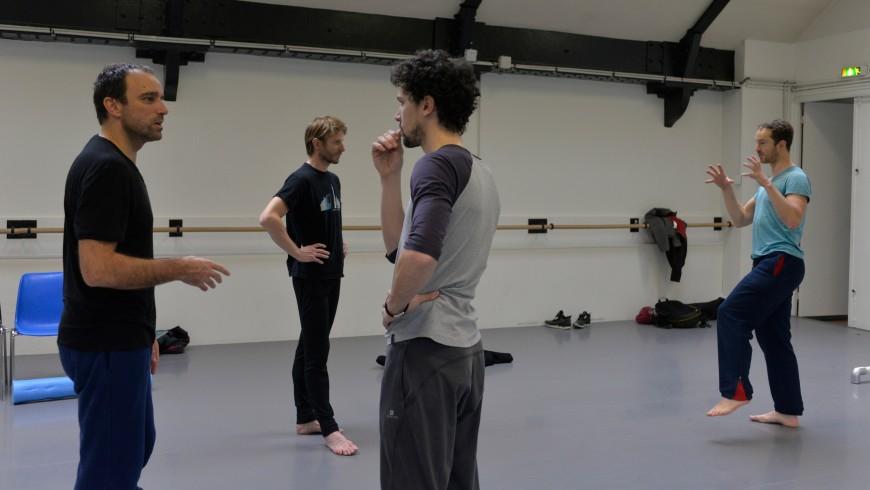 Dimitri Chamblas et Stéphane Bullion, Karl Paquette et Boris Charmatz en répétition