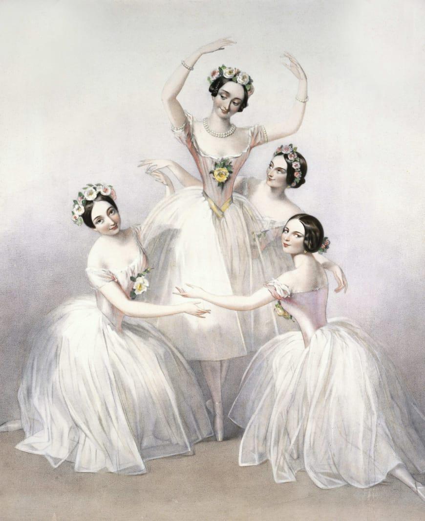 Marie Taglioni entourée des danseuses Carlotta Grisi, Lucile Grahn et Fanny Cerrito en 1846