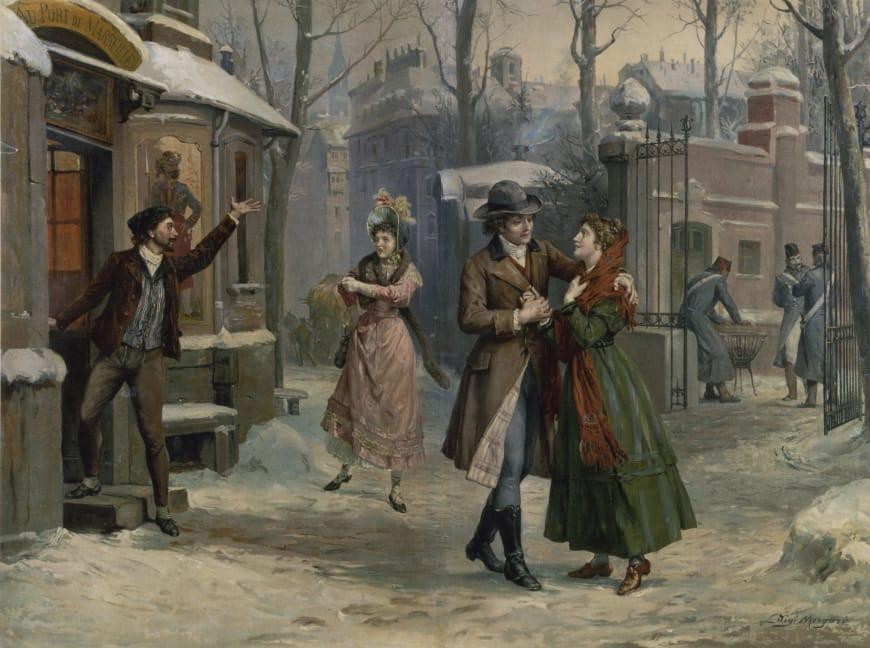 Rodolfo et Mimi, Marcello et Musetta dans la rue (acte III). Série d'illustrations pour La Bohème, Puccini, 1905