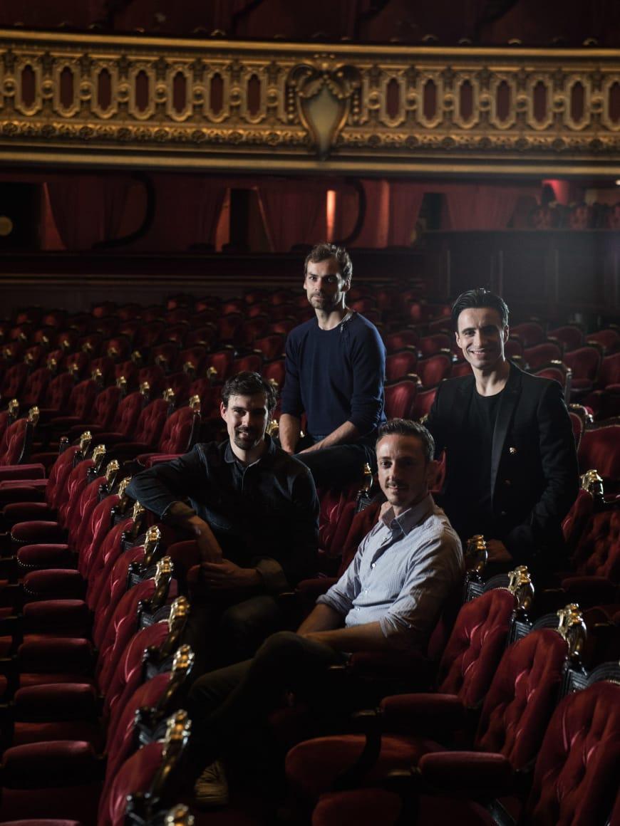 Simon Valastro, Nicolas Paul, Bruno Bouché, Sébastien Bertaud, dans la salle du Palais Garnier