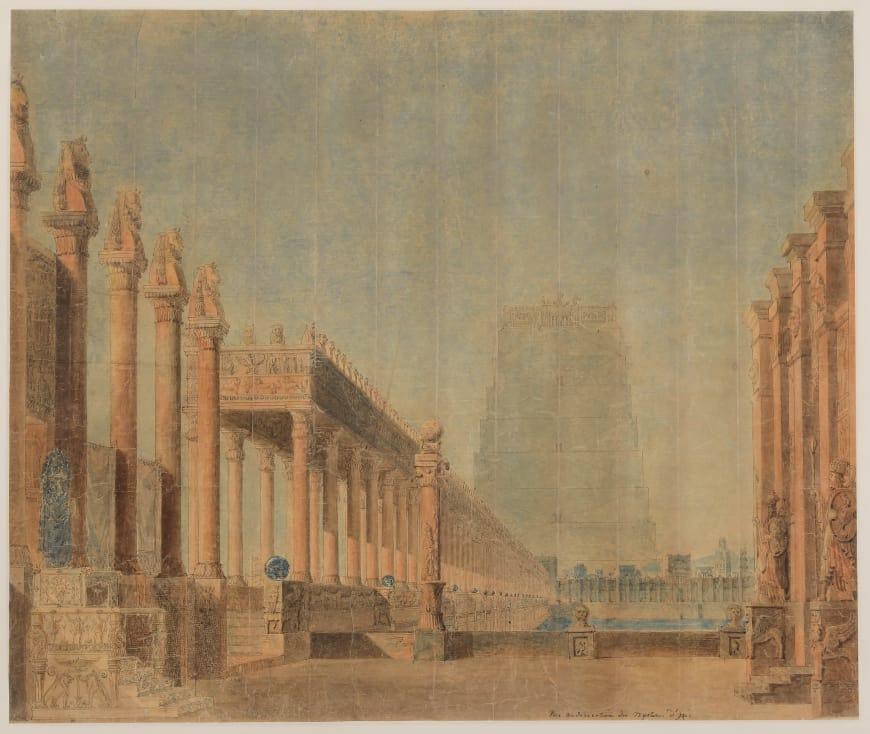 Maquette de décor de Charles Percier pour Les Mystères d'Isis, acte I, 1801,