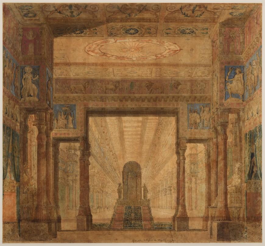 Maquette de décor de Charles Percier pour Les Mystères d'Isis, acte III, 1801