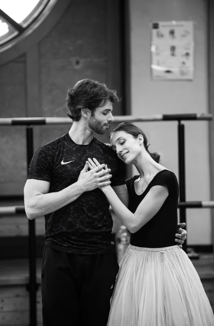 Florian Magnenet (le prince Grémine) et Dorothée Gilbert (Tatiana) en répétition, Opéra national de Paris, 2018
