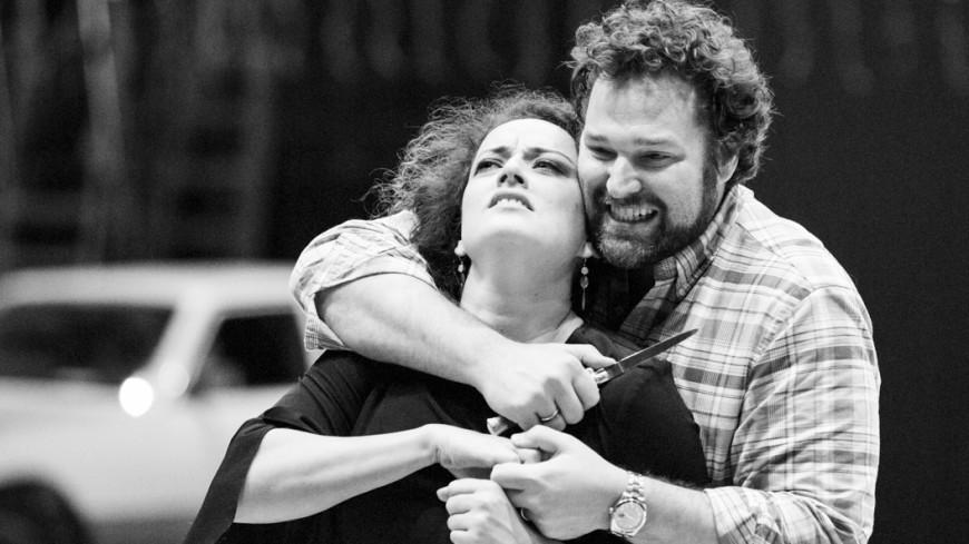 Clémentine Margaine (Carmen) et Bryan Hymel (Don José) en répétition, Opéra Bastille, 2017