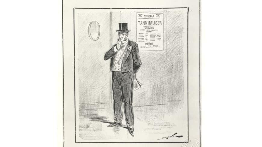 « En 1861, j'ai sifflé Tannhäuser, aujourd'hui, je l'applaudis… Quand ai-je eu raison ? » - Dessin du caricaturiste Draner