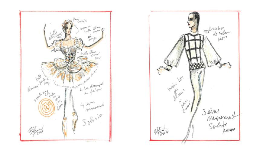 Maquettes de costume Soliste femme (4e mouvement) et soliste homme (3e mouvement)