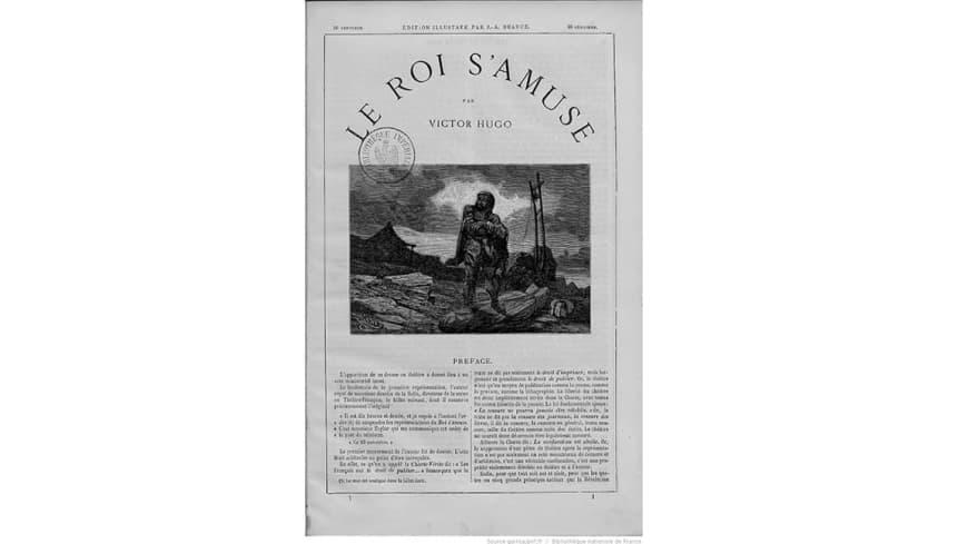 Première page de la préface de l'édition du « Roi s'amuse » (Ed. J. Hetzel, 1866) : discours de Victor Hugo prononcé devant le tribunal de commerce