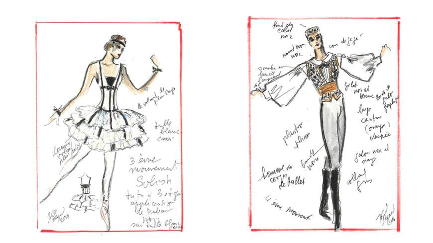 Maquettes de costume Soliste femme (3e mouvement) et Corps de ballet homme (4e mouvement)
