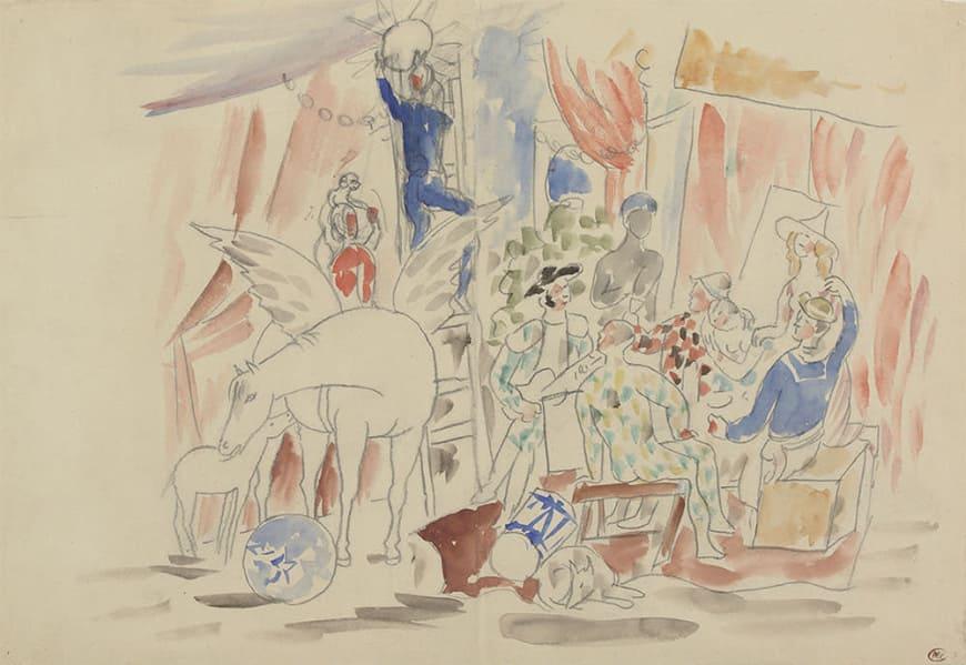 Pablo Picasso, Projet pour le rideau de scène du ballet Parade,[1916-1917]Crayon graphite et aquarelle sur papierMusée national Picasso-ParisDation Pablo Picasso, 1979